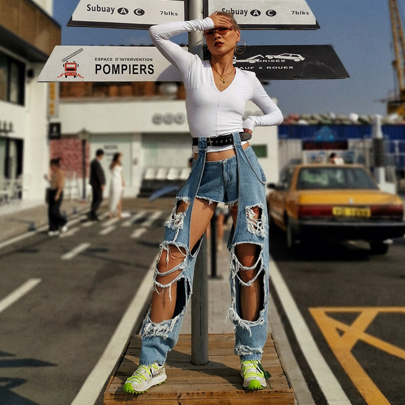 L77street Harajuku Style Personality Belt Leggings Hole Hole Beggar Jeans High Waist Stereo Two-piece Street Jeans Women