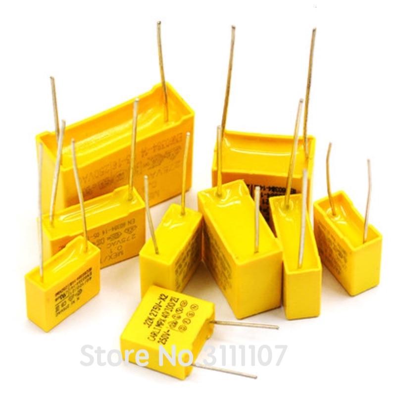 10 шт./лот X2 защитного конденсатора (275VAC 0,1 мкФ 0,001 мкФ 0,0022 мкФ 0,0047 мкФ 0,01 мкФ 0,033 мкФ 0,022 мкФ 0,047 мкФ 0,068 мкФ 0,1 мкФ 0,15 мкФ 1 мкФ