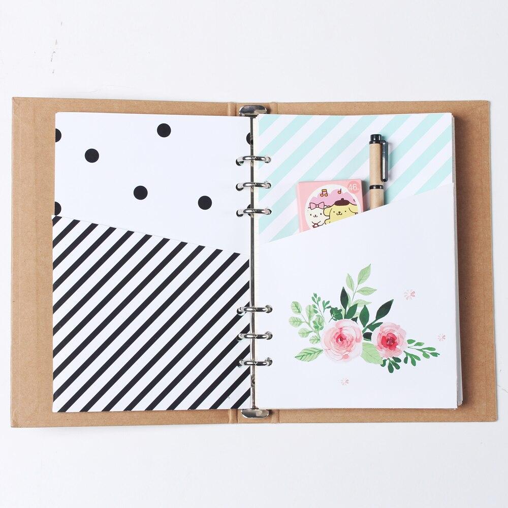 Novo bonito original criativo artesanal 6 buracos binder planejador espiral notebook dentro organizador bolsa acessórios papelaria a5 a6