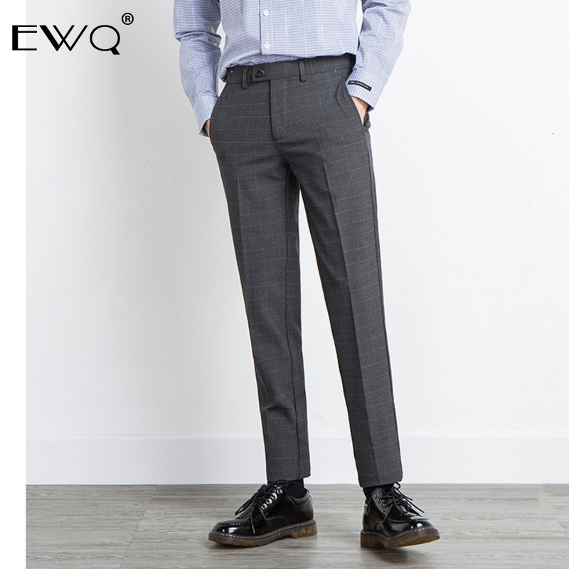 EWQ / England Style Trousers For Male Self-cultivation Bottoms 2020 Spring Fashion New Plaid Pants Vintage Men's Bottoms 9Y0068