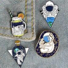 Модная брошка мультфильм значки астронавт spaceэмаль булавки