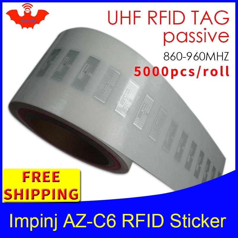 UHF RFID Tag Sticker Impinj MonzaR6 AZ-C6 Wet Inlay EPC6C 915m868m860-960MHZ 5000pcs Free Shipping Adhensive Passive RFID Label