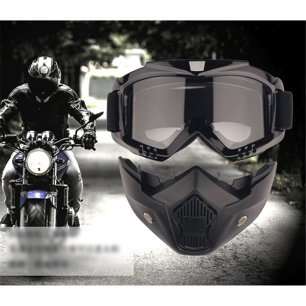 1pcs Detachable Modular Mask Goggles And Mouth Filter For Motorcycle Helmet Moto Casque Casco Capacete