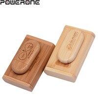 POWERONE (1 PCS freies LOGO) holz usb + Box pen drive 8GB 16gb 32gb 64gb usb Flash Drive Memory Stick LOGO kunden hochzeit Geschenk