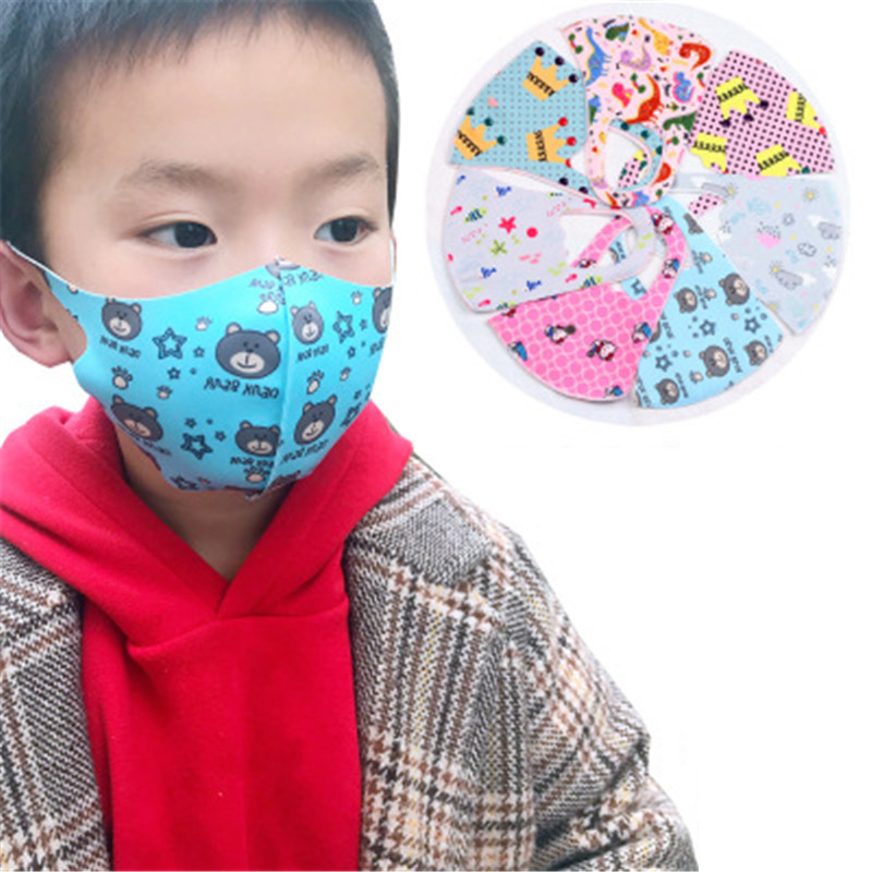 3pcs Random Kids Cartoon Mask Printing Dustproof Breathable PM2.5 Cotton Mouth Face Nose Mask Cover Anti-Dust For Girls Boys