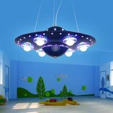 Modern Nordic Creativity Remote Control UFO Pendant Lights Hanging Lamp Blue Silver Pendant Lamps for Children Kids Boy Bedroom