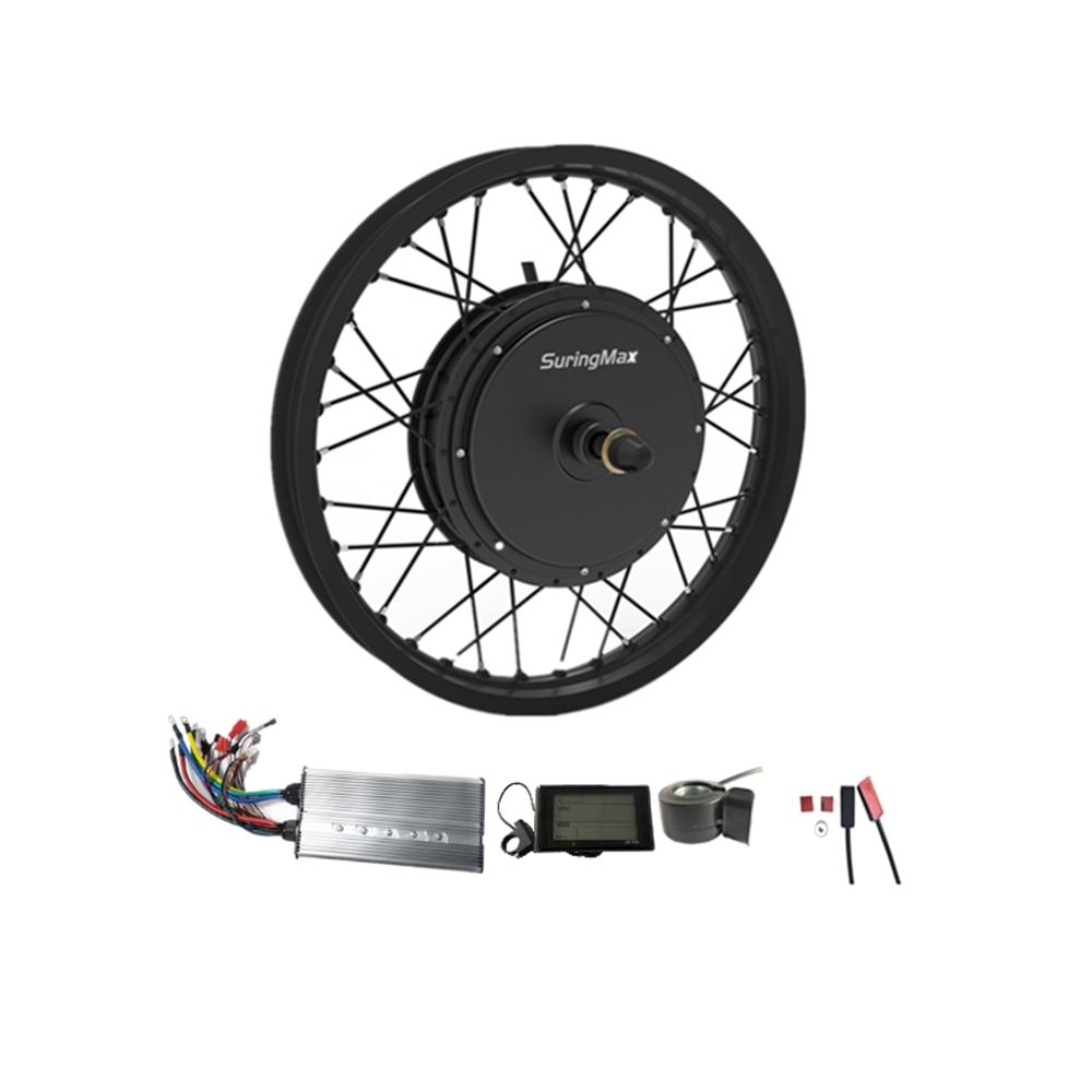 V2 50H Magnet 48-96V 5000W DC Brushless Rear Hub Motor Kit, Motorcycle Rim 5000w Electric Conversion Kit
