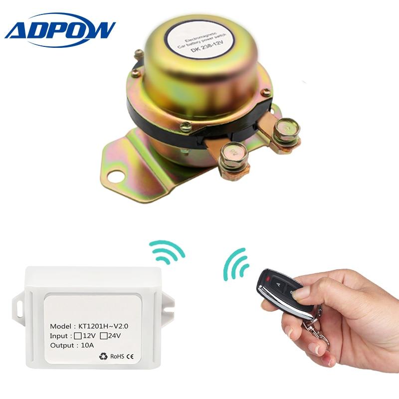 ADPOW пульт дистанционного управления 12 В электромагнитный автомобильный батарейный выключатель отключение Блокировка реле батарея изолято...