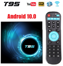 Новейший Allwinner H616 T95 Android 10,0 Четырехъядерный 4 ГБ 64 ГБ android tv box с дисплеем времени Netflix Youtube HD 6K android tv Box
