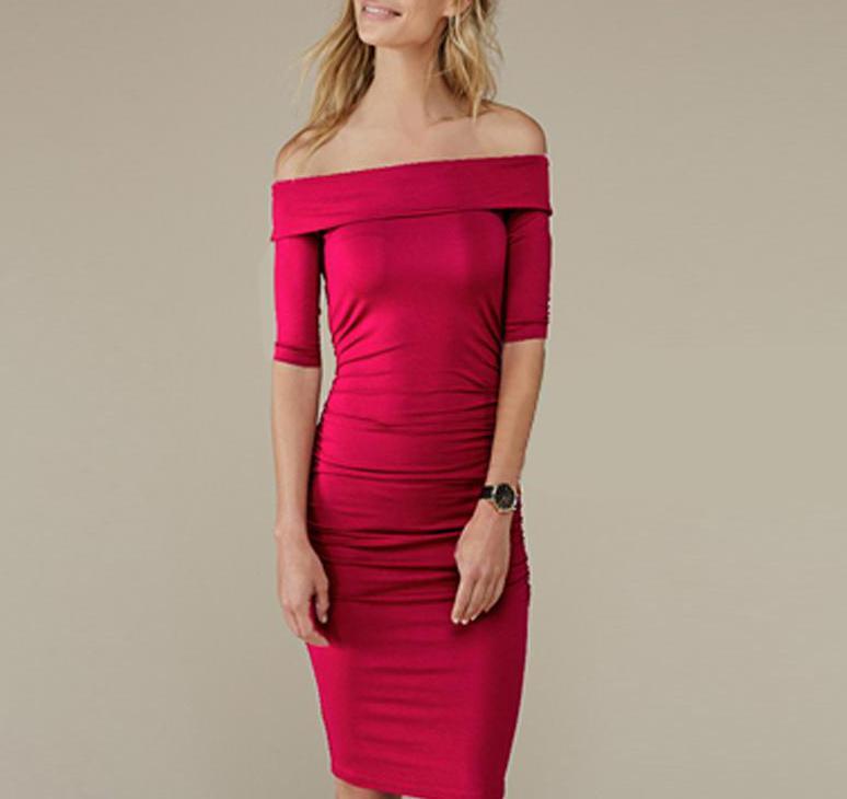 Pregnant Women's Dress Plus Size Fashion Mommy Dress  Shoulderless Mid Sleeve Maternity Dress Pregnant Woman Dress 1701671
