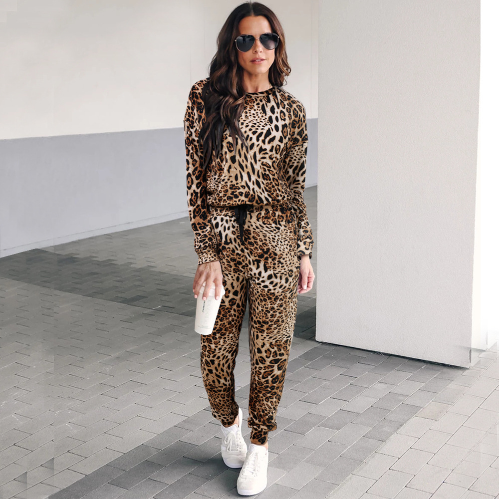 Leopord Pattern Printed Sports Set Crew Neck Long-sleeved Upper Garment + Drawstring Bandage Cloth Skinny Trousers WOMEN'S Suit