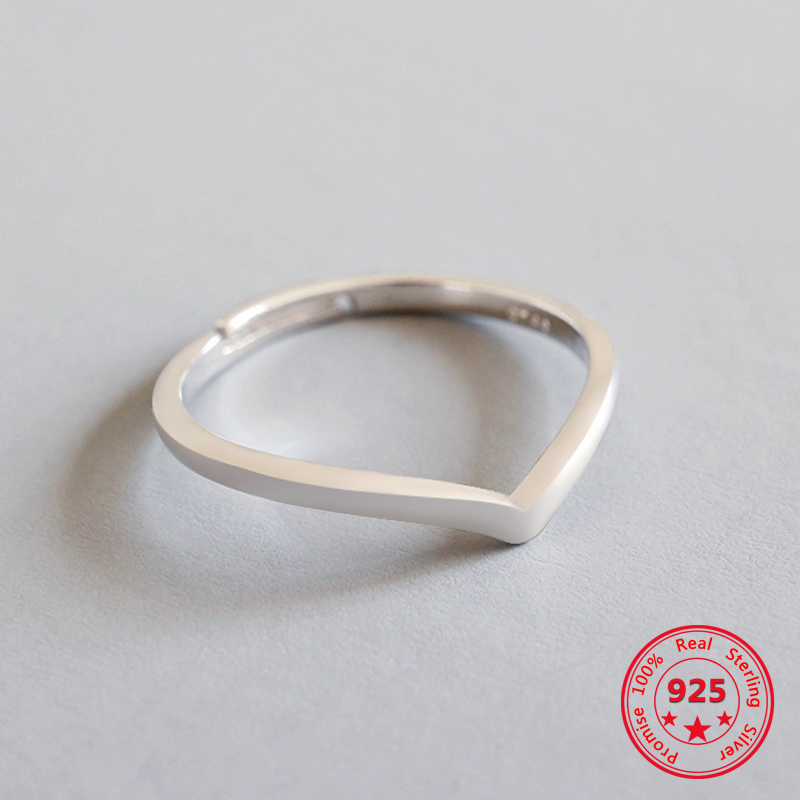 100% S925 Sterling Silver Simple Line Sharp Corner Open Ring Christmas Minimalist Jewelry For Women Girls Fashion Charm Gift