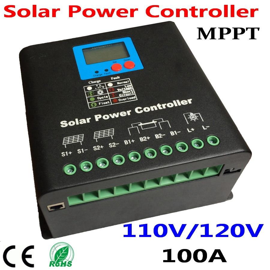 100a mppt controlador de carga solar 110v or120v regulador de bateria 100a para modulos de paineis