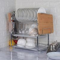 Escurridor de vajilla de 3 capas, estante organizador de almacenamiento de acero inoxidable para cubiertos, platos, fregadero, bandeja de goteo, HWC