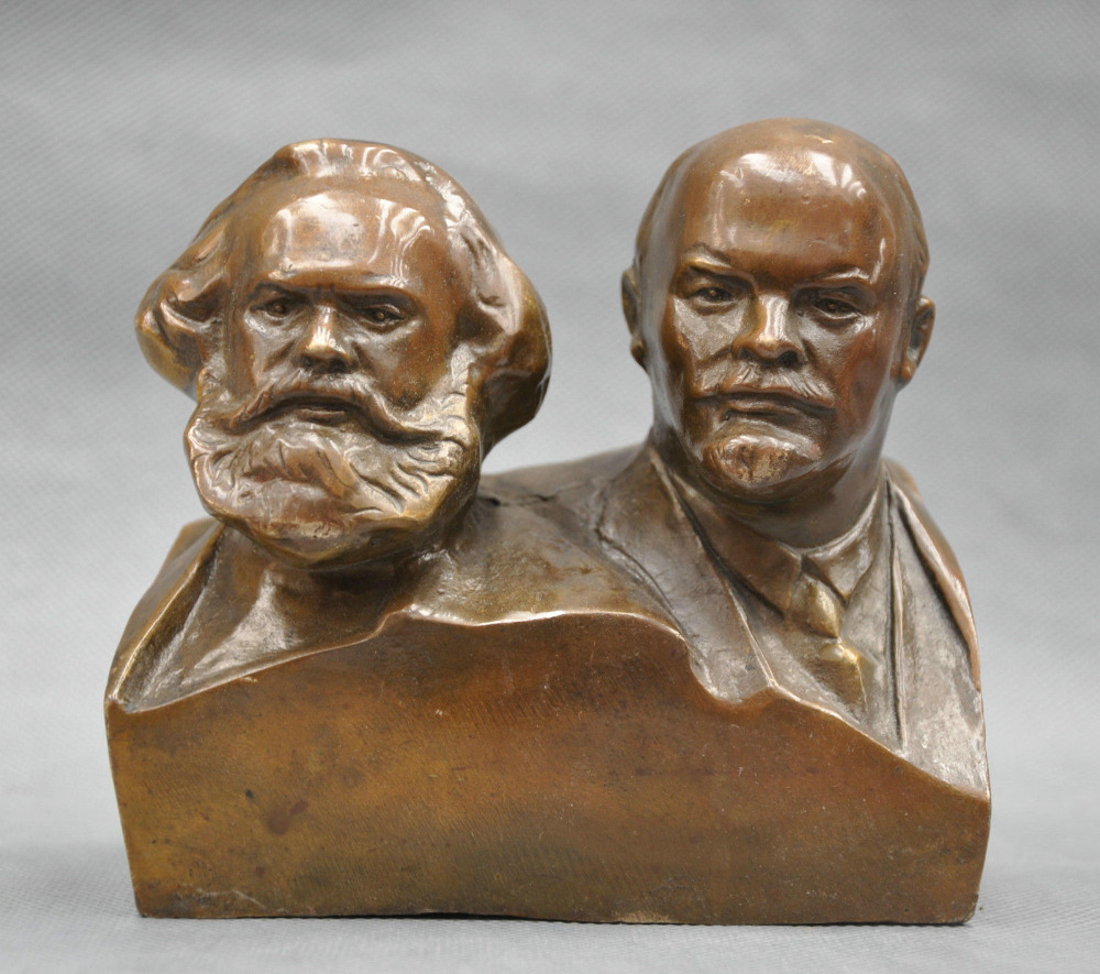 6'' Great Communist Marx And Lenin Bust Bronze Statue Free shipping