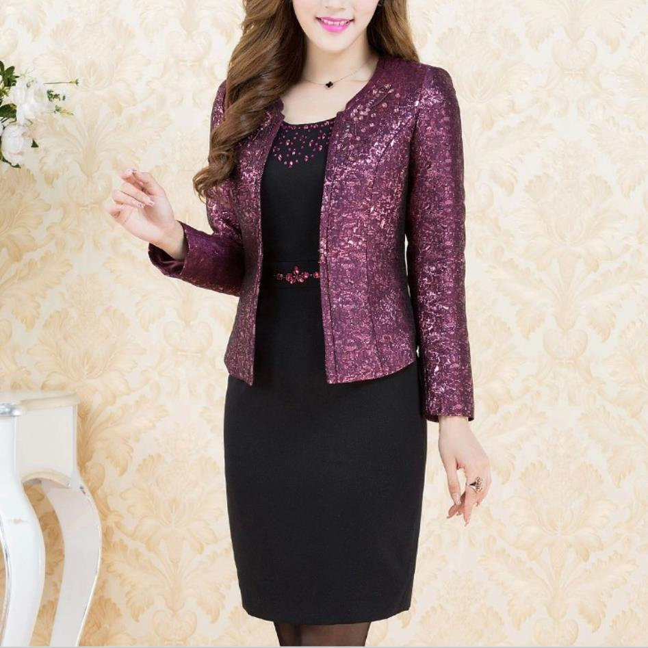 2 Pieces Free Shipping New High Quality Autumn Winter Fashion Dress Mid Old Age Women Clothing Plus Size Set Suit Slim Mother 4x