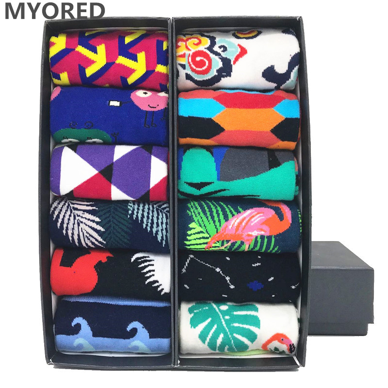 MYORED 12pairs/Lot Funny Man Socks Cute Animal Pattern Argyle Style Good Quality Wedding Gift Crew Socks  NO BOX