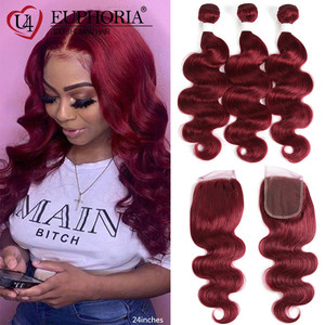 Image 5 - 99J Burgundy Body Wave Bundles With Closure Blonde 27 Brazilian Remy Human Hair 3 Bundles With 4x4 Lace Closure Frontal EUPHORIA