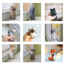 Inacabado moda siamese hawksbail tabby civet gato kitty lã boneca feminina artesanal agulha sentiu kit pacote diy presente para crianças