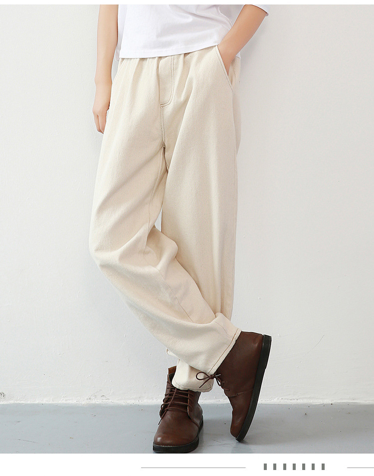Harem Pants Jeans Trousers Loose White High-Waist Casual Korean Fashion Women New Autumn