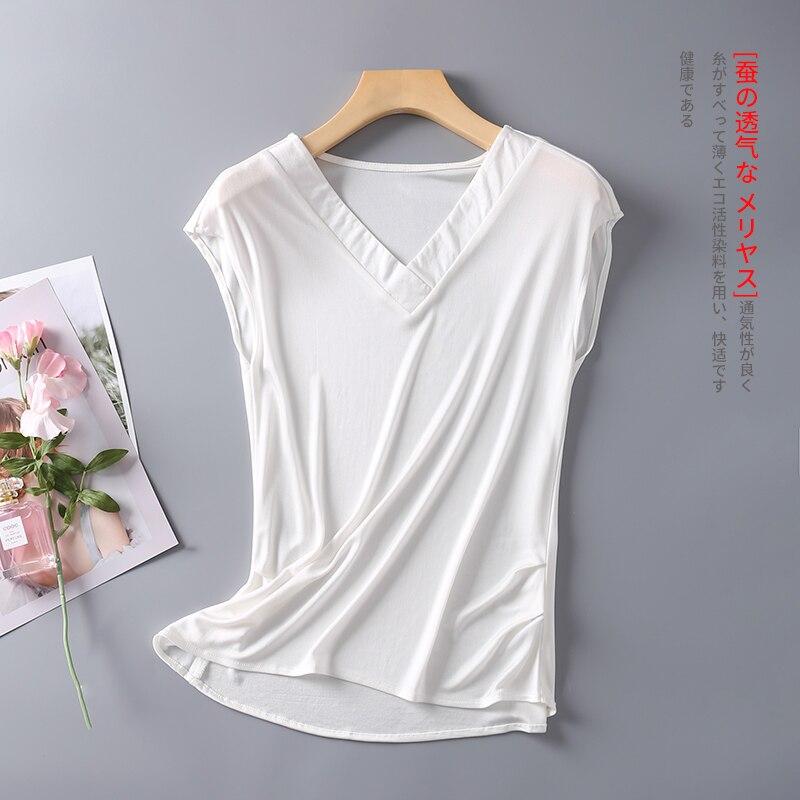 Women's 50% Silk Stretchy V Neck Sleeveless T-Shirts Vest Tank Top M L XL TG102
