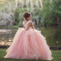 Pink Flower Girl Dresses for Wedding Layered Tulle Lace appliques Kids Gown pageant dresses for girls