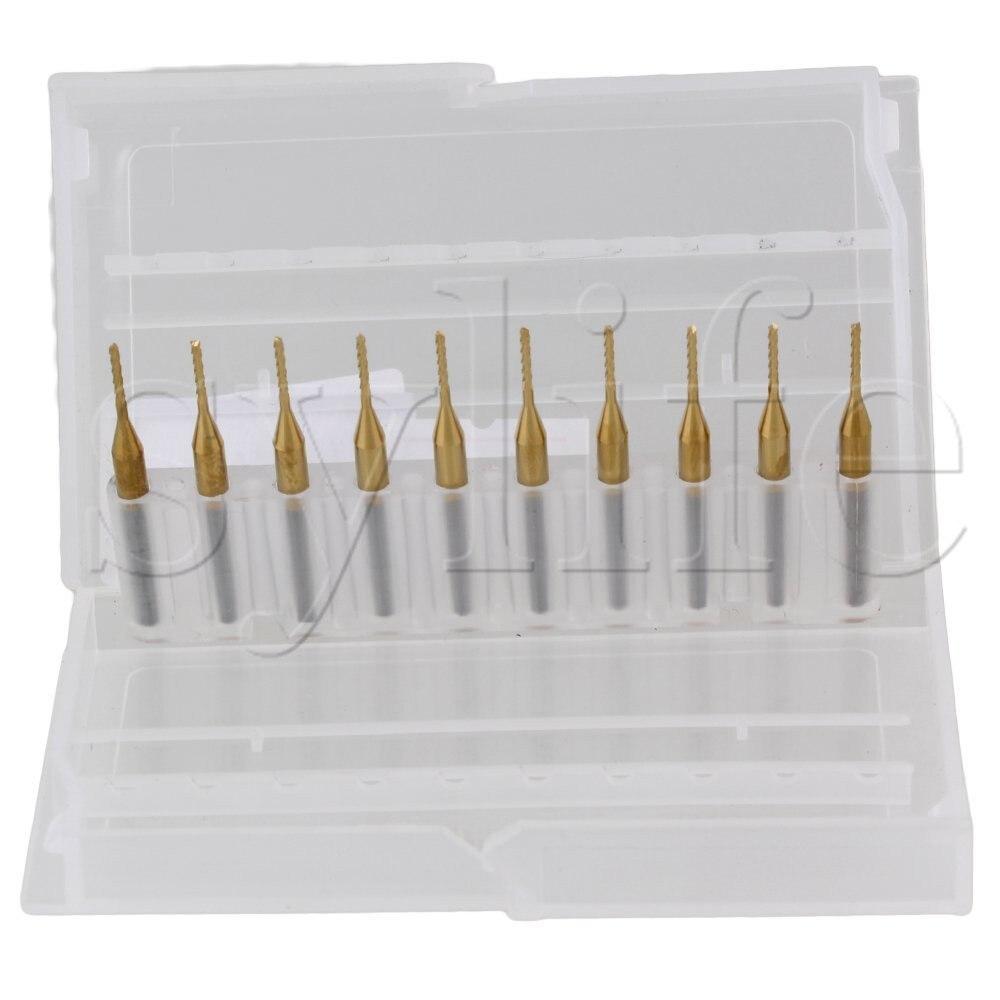 Купить с кэшбэком 3.175mm Corn Teeth TiN Coated Carbide Milling Cutter Router Drill Bit Blade Dia 1.0mm Pack of 10
