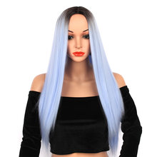 Clicling wigs long straight ombre light blue hair wig for women