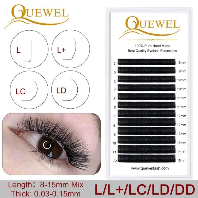 Estensione ciglia Individuale Naturale Morbido Lash L/L +/LC/LD/DD Per I Professionisti Quewel Occhio ciglia Russia volume Ciglia di Seta