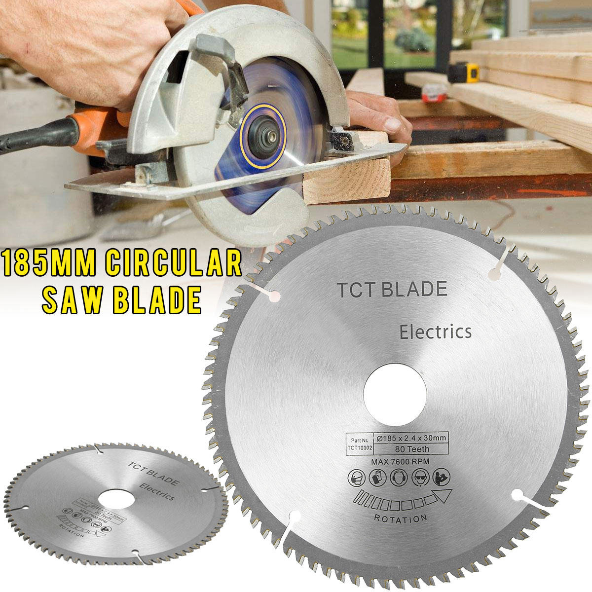 High-speed Steel 80 Teeth Circular Saw Blade With 3pcs Reduction Rings Fits For 190mm Saws For Bosch, Makita, Festool & Others