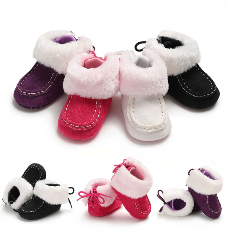 Infant Newborn Baby Girls Cashmere Plush Winter Boots Bandage Warm Shoes US