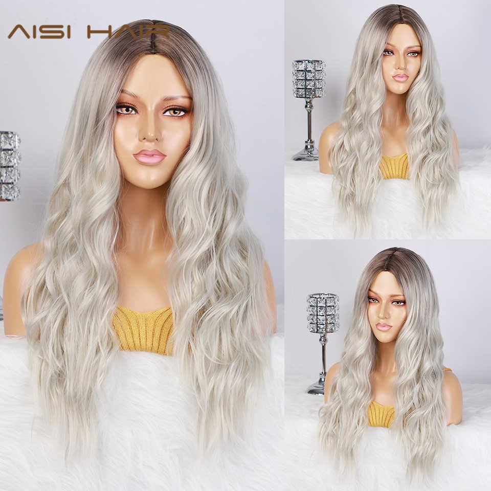 AISI saç uzun bayan peruk Ombre platin sarışın peruk isıya dayanıklı parçası yan sentetik dalgalı peruk afrika amerikan kadınlar için