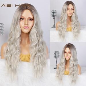Image 2 - Aisi Capelli Lunghi Delle Donne Parrucche Ombre Platinum Blonde Parrucche Resistente Al Calore Lato Parte Sintetiche Ondulate Parrucche per Le Donne Afro americane