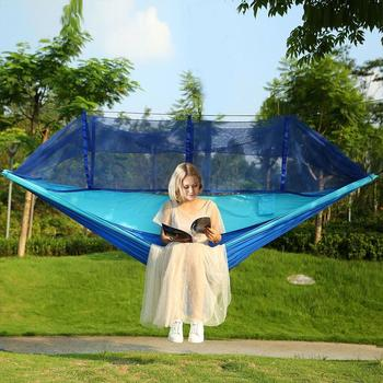 Camping/garden Hammock with Mosquito Net Outdoor Furniture 1-2 Bed Portable Parachute Swing Strength Person Fabric Hanging D6N9