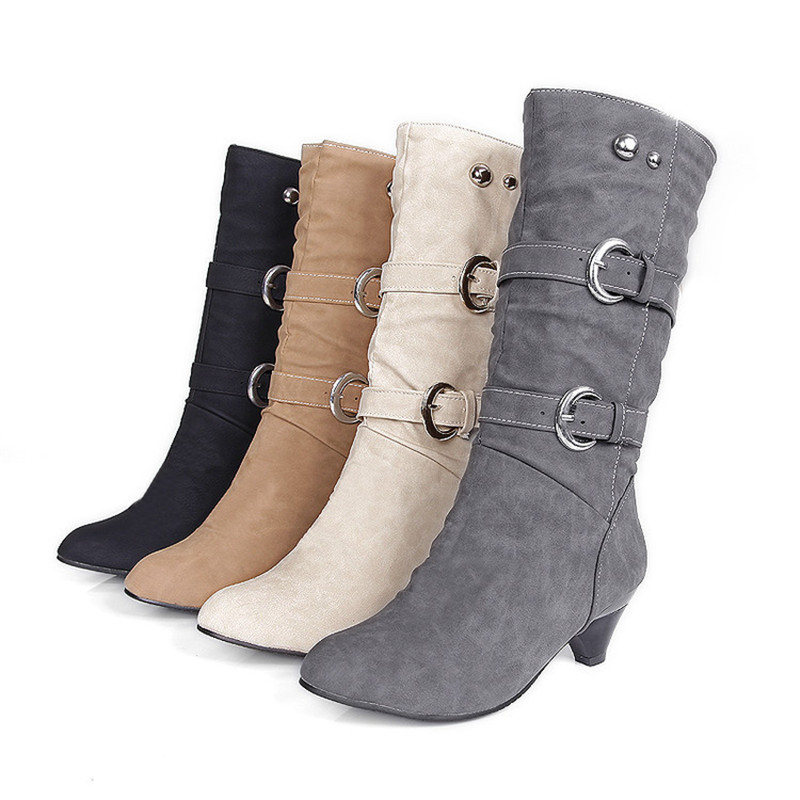 Women Classic Mid-Calf Belt Buckle Winter Boots Lady Solid Short Plush Round Toe Spike Heels Faux Suede Booties apatos de mujer