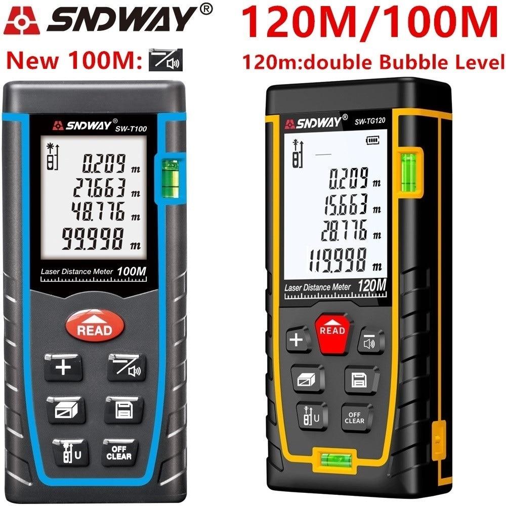SNDWAY laser rangefinder distance meter 120M 100M 80M 60M 40M laser tape range finder build measure digital ruler trena roulette-in Laser Rangefinders from Tools