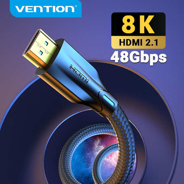 Vention HDMI Cable HDMI 2.1 Cable 8K@60Hz 4K@120Hz Ultra High Speed 48Gbps for PS4 Mi TV Box Splitter Digital HDR HDMI 2.1 Cable