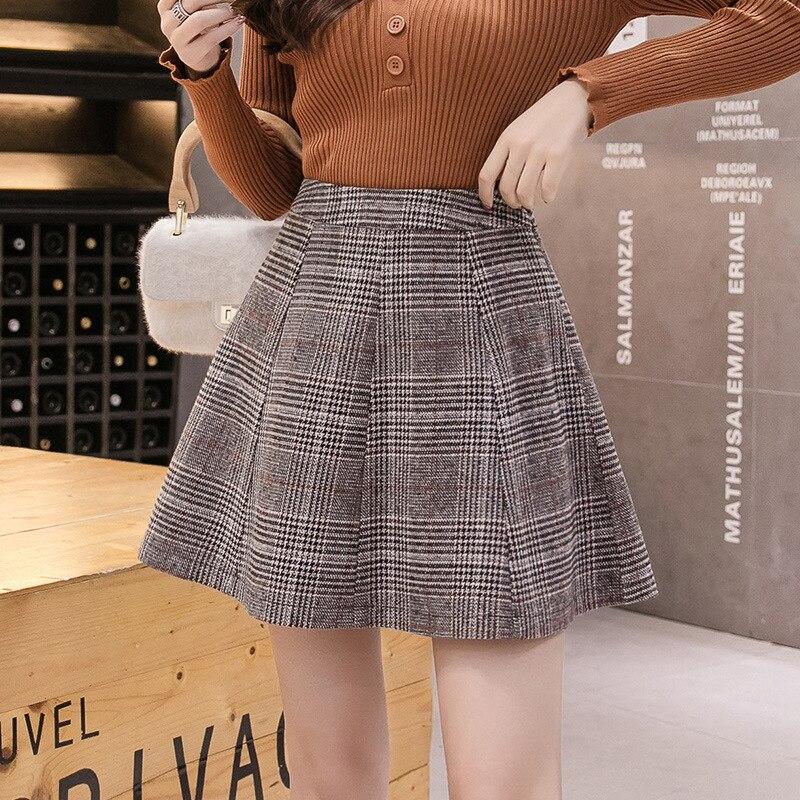 S-2xl Autumn High Waist Tutu Skirt For Women 2019 Korean Winter Woolen Plaid Skirts Grils Plus Size Mini Skirts Women Jupe Femme