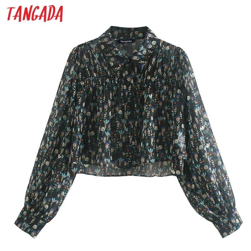 Tangada-Camiseta Flores retro cortp con estampado para mujer, ropa de manga larga, ajustada, sexy, CE33, 2020