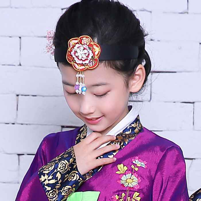 Korean Hanbok Traditional Headbands Flower Applique Embroidered Hair Band Ethnic Minority Korean Clothes Performance Accessories