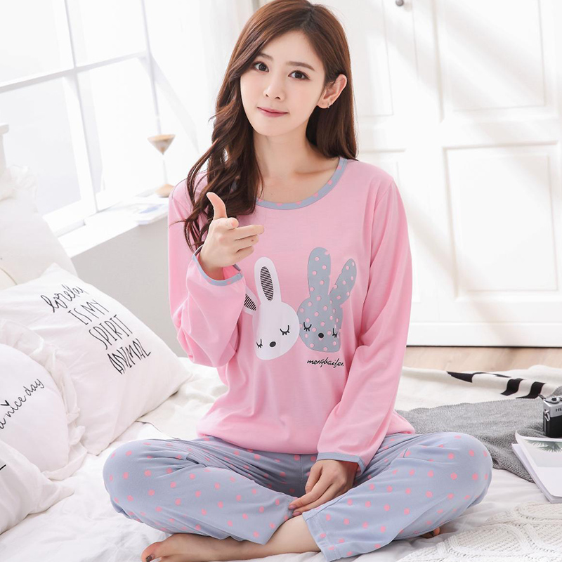spring autumn Women Pyjamas Thin cotton Long Sleeve Pajamas Set Student Tracksuit Tops Female Pyjamas Sets Night Suit Sleepwear