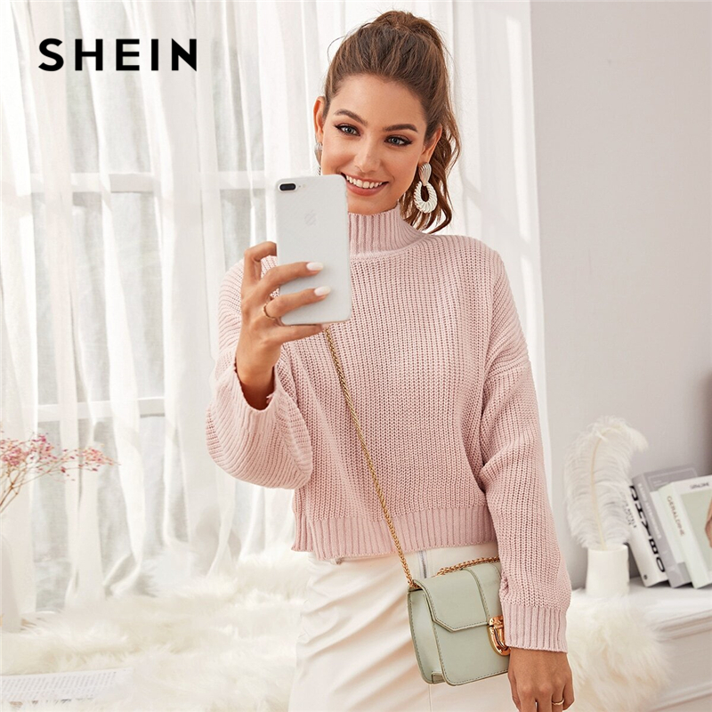 SHEIN Pastel Pink High Neck Drop Shoulder Crop Sweater Women Tops Winter Spring High Neck Basic Casual Solid Sweaters
