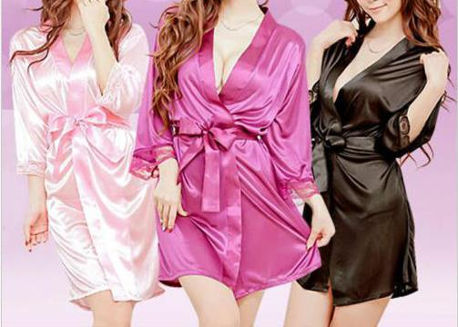 Fashion Solid Color Satin Sexy Lace Underwear Women's Silk Lace Robe V-neck Dress Doll Dress Nightdress Pajamas Robe