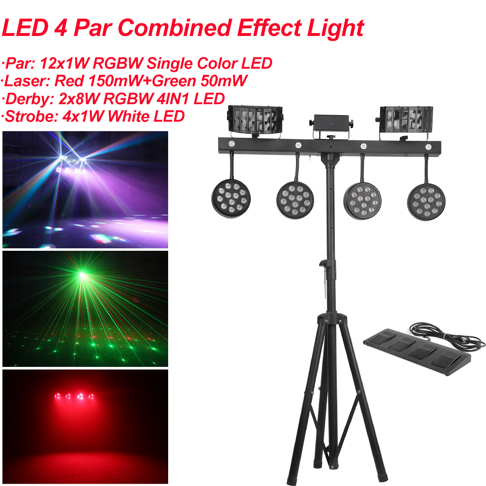 NEW 126W 4IN1 Effect LED Par Kit 12x1W RGBW Single Color LED Slim Flat Par Lights With Light Stand DMX Strobe Laser DJ Disco