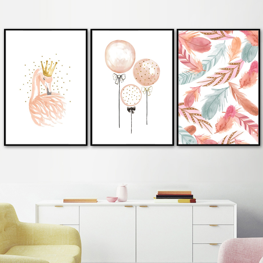 Watercolor Flamingo Balloon Feather Nordic Canvas Posters And Prints Wall Art Print Canvas Painting Wall Pictures For Kids Room in Painting Calligraphy from Home Garden