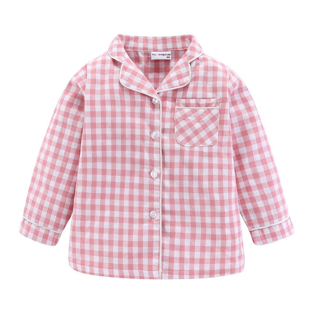Mudkingdom Boys Girls Long Sleeve Pajamas Set Collared Plaid Autumn Cute Toddler Pajama Kids Sleepwear Children Clothes 5