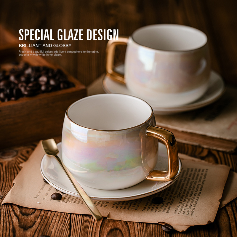 pearl glaze Ceramic Afternoon Black Tea Cups And Saucers With Spoon Coffee Cup With Tray Porcelain Drinkware Set