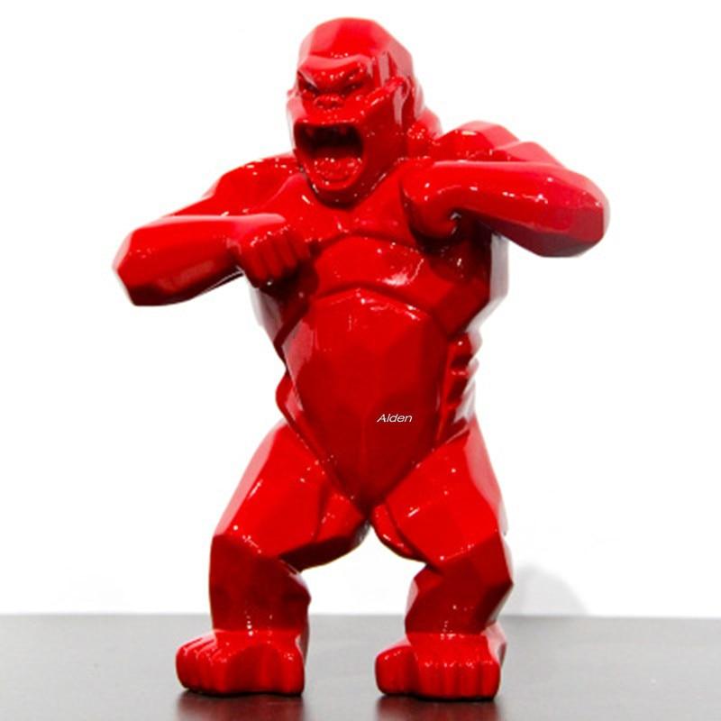"8"" Animal Simulation King Kong Gorilla Creative Decoration Art Craft Birthday Gift Resin Action Collectible Model Toy BOX Z2859"