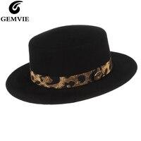 GEMVIE Medium Brim 100% Wool Boater Hat With Leopard Band Women Man Flat Crown Fedora Church Hat Autumn Winter