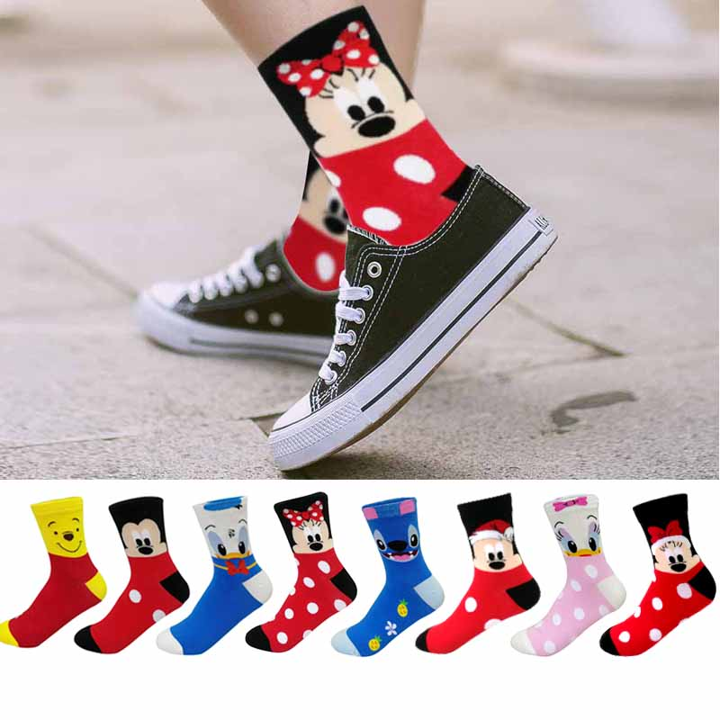 Disney Casual Women Socks Cartoon Animal Mouse Socks Funny Christmas Socks Women Cotton Cute Long Socks Size 35-43 Dropship